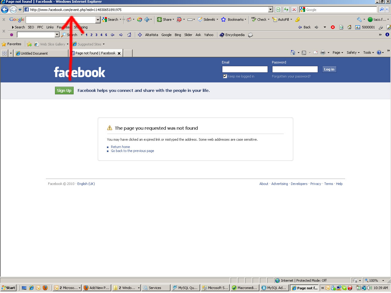 Facebook event same url but logged out